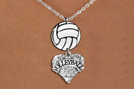"""<Br>                  EXCLUSIVELY OURS!!<Br>            AN ALLAN ROBIN DESIGN!!<Br>                 LEAD & NICKEL FREE!! <Br>W21747N - LOBSTER CLASP CHAIN LINK <BR>NECKLACE AND VOLLEYBALL PENDANT <BR>WITH CRYSTAL & SILVER TONE """"VOLLEYBALL"""" HEART CHARM <BR>        FROM $7.31 TO $16.25 �2015"""