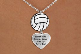 """<BR>   NICKEL FREE & ADJUSTABLE NECKLACE !<Br>                  EXCLUSIVELY OURS!!<Br>            AN ALLAN ROBIN DESIGN!!<Br>                 LEAD & NICKEL FREE!! <Br>W21748N - LOBSTER CLASP CHAIN LINK <BR>NECKLACE AND VOLLEYBALL PENDANT <BR>WITH """"NEVER STOP TRYING..."""" HEART CHARM <BR>        FROM $7.31 TO $16.25 �2015"""