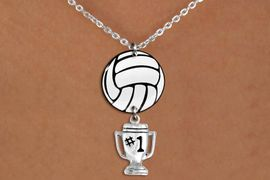 """<Br>                  EXCLUSIVELY OURS!!<Br>            AN ALLAN ROBIN DESIGN!!<Br>                 LEAD & NICKEL FREE!! <Br>W21749N - LOBSTER CLASP CHAIN LINK <BR>NECKLACE AND VOLLEYBALL PENDANT <BR>WITH SILVER TONE """"#1 TROPHY"""" CHARM <BR>        FROM $7.31 TO $16.25 �2015"""