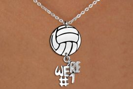 """<Br>                  EXCLUSIVELY OURS!!<Br>            AN ALLAN ROBIN DESIGN!!<Br>                 LEAD & NICKEL FREE!! <Br>W21750N - LOBSTER CLASP CHAIN LINK <BR>NECKLACE AND VOLLEYBALL PENDANT <BR>WITH SILVER TONE """"#1 TROPHY"""" CHARM <BR>        FROM $7.31 TO $16.25 �2015"""