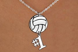 """<BR>   NICKEL FREE & ADJUSTABLE NECKLACE !<Br>                  EXCLUSIVELY OURS!!<Br>            AN ALLAN ROBIN DESIGN!!<Br>                 LEAD & NICKEL FREE!! <Br>W21751N - LOBSTER CLASP CHAIN LINK <BR>NECKLACE AND VOLLEYBALL PENDANT <BR>WITH SILVER TONE """"#1"""" CHARM <BR>        FROM $7.31 TO $16.25 �2015"""