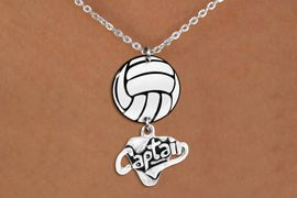 """<Br>                  EXCLUSIVELY OURS!!<Br>            AN ALLAN ROBIN DESIGN!!<Br>                 LEAD & NICKEL FREE!! <Br>W21752N - LOBSTER CLASP CHAIN LINK <BR>NECKLACE AND VOLLEYBALL PENDANT <BR>WITH SILVER TONE """"CAPTAIN"""" CHARM <BR>        FROM $7.31 TO $16.25 �2015"""