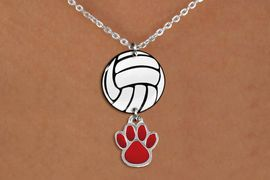 <BR>   NICKEL FREE & ADJUSTABLE NECKLACE !<Br>                  EXCLUSIVELY OURS!!<Br>            AN ALLAN ROBIN DESIGN!!<Br>                 LEAD & NICKEL FREE!! <Br>W21754N - LOBSTER CLASP CHAIN LINK <BR>NECKLACE AND VOLLEYBALL PENDANT <BR>WITH YOUR CUSTOM COLOR PAW PRINT CHARM <BR>        FROM $7.31 TO $16.25 �2015