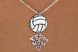 """<BR>   NICKEL FREE & ADJUSTABLE NECKLACE !<Br>                  EXCLUSIVELY OURS!!<Br>            AN ALLAN ROBIN DESIGN!!<Br>                 LEAD & NICKEL FREE!! <Br>W21755N - LOBSTER CLASP CHAIN LINK <BR>NECKLACE AND VOLLEYBALL PENDANT <BR>WITH SILVER TONE """"TEAM MOM"""" CHARM <BR>        FROM $7.31 TO $16.25 �2015"""