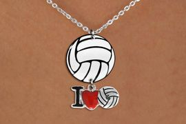 """<Br>                  EXCLUSIVELY OURS!!<Br>            AN ALLAN ROBIN DESIGN!!<Br>                 LEAD & NICKEL FREE!! <Br>W21756N - LOBSTER CLASP CHAIN LINK <BR>NECKLACE AND VOLLEYBALL PENDANT <BR>WITH SILVER TONE """"I LOVE SOCCER"""" CHARM <BR>        FROM $7.31 TO $16.25 �2015"""