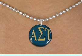 <BR>                  NICKEL FREE & ADJUSTABLE!<bR>     WHOLESALE FASHION SORORITY JEWELRY   <BR>                     EXCLUSIVELY OURS!!   <BR>                AN ALLAN ROBIN DESIGN!!   <BR>          LEAD, NICKEL & CADMIUM FREE!!   <BR>     W21761SN - OFFICIAL COLORFUL GREEK <BR>LETTER SORORITY DISK CHARM ON BALL CHAIN<Br>ADJUSTABLE NECKLACE FROM $5.90 TO $9.25 �2015