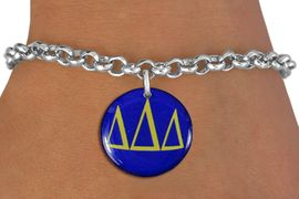 <BR>                  NICKEL FREE & ADJUSTABLE!<bR>        WHOLESALE FASHION SORORITY JEWELRY   <BR>                        EXCLUSIVELY OURS!!   <BR>                   AN ALLAN ROBIN DESIGN!!   <BR>             LEAD, NICKEL & CADMIUM FREE!!   <BR> W21768SB - OFFICIAL GREEK LETTER SORORITY  <BR>COLORFUL DISK CHARM ON ADJUSTABLE LOBSTER <Br>  CLASP CHAIN BRACELET FROM $5.90 TO $9.25 �2015