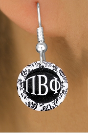 <BR>                               NICKEL FREE !<bR>    WHOLESALE FASHION SORORITY JEWELRY   <BR>                    EXCLUSIVELY OURS!!   <BR>               AN ALLAN ROBIN DESIGN!!   <BR>         LEAD, NICKEL & CADMIUM FREE!!   <BR>      W21776SE - OFFICIAL GREEK LETTER  <BR>B&W FLORAL SORORITY DISK CHARM ON FISHHOOK  <Br>    EARRINGS FROM $5.90 TO $9.25 �2015