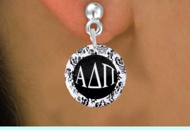 <BR>                              NICKEL FREE !<bR>    WHOLESALE FASHION SORORITY JEWELRY   <BR>                    EXCLUSIVELY OURS!!   <BR>               AN ALLAN ROBIN DESIGN!!   <BR>         LEAD, NICKEL & CADMIUM FREE!!   <BR>      W21777SE - OFFICIAL GREEK LETTER <BR>B&W FLORAL SORORITY DISK CHARM ON POST STYLE <Br>    EARRINGS FROM $5.90 TO $9.25 �2015