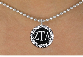 <BR>                  NICKEL FREE & ADJUSTABLE!<bR>     WHOLESALE FASHION SORORITY JEWELRY   <BR>                     EXCLUSIVELY OURS!!   <BR>                AN ALLAN ROBIN DESIGN!!   <BR>          LEAD, NICKEL & CADMIUM FREE!!   <BR>     W21779SN - OFFICIAL GREEK LETTER  <BR>B&W FLORAL SORORITY DISK CHARM ON BALL CHAIN <Br>ADJUSTABLE NECKLACE FROM $5.90 TO $9.25 �2015