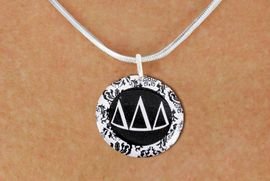 <BR>       NICKEL FREE & ADJUSTABLE NECKLACE !<bR>     WHOLESALE FASHION SORORITY JEWELRY   <BR>                     EXCLUSIVELY OURS!!   <BR>                AN ALLAN ROBIN DESIGN!!   <BR>          LEAD, NICKEL & CADMIUM FREE!!   <BR>     W21782SN - OFFICIAL B&W FLORAL GREEK <BR>LETTER SORORITY DISK CHARM ON ADJUSTABLE <Br>SNAKE CHAIN NECKLACE FROM $5.90 TO $9.25 �2015