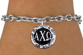<BR>                                   NICKEL FREE!<bR>        WHOLESALE FASHION SORORITY JEWELRY  <BR>                        EXCLUSIVELY OURS!!   <BR>                   AN ALLAN ROBIN DESIGN!!   <BR>             LEAD, NICKEL & CADMIUM FREE!!   <BR>W21783SB - OFFICIAL GREEK LETTER SORORITY  <BR>    B&W FLORAL DISK CHARM ON TOGGLE CLASP  <Br> CHAIN BRACELET FROM $5.90 TO $9.25 �2015
