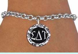 <BR>          NICKEL FREE & ADJUSTABLE BRACELET !<bR>        WHOLESALE FASHION SORORITY JEWELRY  <BR>                        EXCLUSIVELY OURS!!   <BR>                   AN ALLAN ROBIN DESIGN!!   <BR>             LEAD, NICKEL & CADMIUM FREE!!   <BR>W21785SB - OFFICIAL GREEK LETTER SORORITY  <BR>    B&W FLORAL DISK CHARM ON ADJUSTABLE LOBSTER<Br> CLASP BRACELET FROM $5.90 TO $9.25 �2015