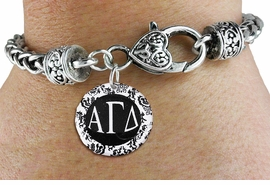 <BR>                              NICKEL FREE !<bR>        WHOLESALE FASHION SORORITY JEWELRY  <BR>                        EXCLUSIVELY OURS!!   <BR>                   AN ALLAN ROBIN DESIGN!!   <BR>             LEAD, NICKEL & CADMIUM FREE!!   <BR>W21786SB - OFFICIAL GREEK LETTER SORORITY  <BR>    B&W FLORAL DISK CHARM ON HEART LOBSTER<Br> CLASP BRACELET FROM $5.90 TO $9.25 �2015