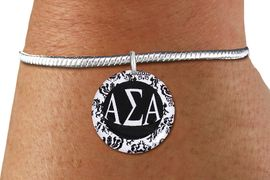 <BR>                                     NICKEL FREE!<bR>        WHOLESALE FASHION SORORITY JEWELRY  <BR>                        EXCLUSIVELY OURS!!   <BR>                   AN ALLAN ROBIN DESIGN!!   <BR>             LEAD, NICKEL & CADMIUM FREE!!   <BR>W21787SB - OFFICIAL GREEK LETTER SORORITY  <BR>    B&W FLORAL DISK CHARM ON LOBSTER CLASP <Br> SNAKE CHAIN BRACELET FROM $5.90 TO $9.25 �2015