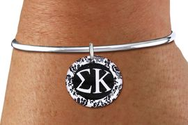 <BR>                  NICKEL FREE & ADJUSTABLE!<bR>        WHOLESALE FASHION SORORITY JEWELRY  <BR>                        EXCLUSIVELY OURS!!   <BR>                   AN ALLAN ROBIN DESIGN!!   <BR>             LEAD, NICKEL & CADMIUM FREE!!   <BR>W21788SB - OFFICIAL GREEK LETTER SORORITY  <BR>    B&W FLORAL DISK CHARM ON ADJUSTABLE SOLID WIRE <Br> SCREW BALL BRACELET FROM $5.90 TO $9.25 �2015