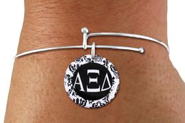 <BR>          NICKEL FREE & ADJUSTABLE BRACELET !<bR>        WHOLESALE FASHION SORORITY JEWELRY  <BR>                        EXCLUSIVELY OURS!!   <BR>                   AN ALLAN ROBIN DESIGN!!   <BR>             LEAD, NICKEL & CADMIUM FREE!!   <BR>W21790SB - OFFICIAL GREEK LETTER SORORITY  <BR>    B&W FLORAL DISK CHARM ON ADJUSTABLE <Br> THIN WIRE BRACELET FROM $5.90 TO $9.25 �2015