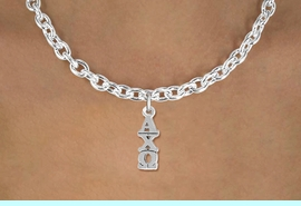 <BR>          CLICK ON PICTURE, SCROLL DOWN<BR>   TO SELECT YOUR SORORITIES GREEK LETTERS<bR>      WHOLESALE FASHION SORORITY JEWELRY  <BR>                     EXCLUSIVELY OURS!!  <BR>                AN ALLAN ROBIN DESIGN!!  <BR>          LEAD, NICKEL & CADMIUM FREE!!  <BR>     W21795SN - OFFICIAL SILVER TONE CUSTOM  <BR> GREEK LETTER SORORITY CHARM ON TOGGLE <Br>CHAIN NECKLACE FROM $5.90 TO $9.25 �2014
