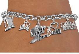 "<Br>                   EXCLUSIVELY OURS!!  <Br>              AN ALLAN ROBIN DESIGN!!  <Br>        CADMIUM, LEAD & NICKEL FREE!!  <Br>     W21796B - SILVER TONE DRILL TEAM  <BR>""I LOVE DRILL TEAM"" THEMED FIVE CHARM <BR>            BRACELET $10.38 EACH  �2015"