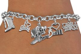 """<Br>                   EXCLUSIVELY OURS!!  <Br>              AN ALLAN ROBIN DESIGN!!  <Br>        CADMIUM, LEAD & NICKEL FREE!!  <Br>     W21796B - SILVER TONE DRILL TEAM  <BR>""""I LOVE DRILL TEAM"""" THEMED FIVE CHARM <BR>            BRACELET $10.38 EACH  �2015"""