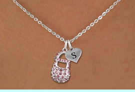<br>ADJUSTABLE & PERSONALIZED INITIAL NECKLACE <bR>                    EXCLUSIVELY OURS!!  <Br>               AN ALLAN ROBIN DESIGN!!  <BR>                  LEAD & NICKEL FREE!!  <BR>W21800SN - DETAILED SILVER TONE & PINK  <BR>  CRYSTAL BABY SHOE PENDANT WITH HEART   <BR>      SHAPED ALPHABET INITIAL CHARM ON   <Br>     LOBSTER CLASP CHAIN LINK NECKLACE  <BR>            FROM $7.31 TO $16.25 �2015