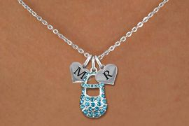 <br>ADJUSTABLE & PERSONALIZED INITIAL NECKLACE <bR>                    EXCLUSIVELY OURS!!  <Br>               AN ALLAN ROBIN DESIGN!!  <BR>                  LEAD & NICKEL FREE!!  <BR>W21801SN - DETAILED SILVER TONE & BLUE <BR>  CRYSTAL BABY SHOE PENDANT WITH 2 HEART   <BR>      SHAPED ALPHABET INITIAL CHARMS ON   <Br>     LOBSTER CLASP CHAIN LINK NECKLACE  <BR>            FROM $8.44 TO $18.75 �2015