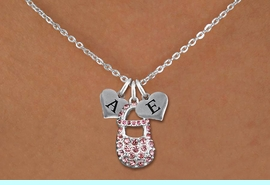 <br>ADJUSTABLE & PERSONALIZED INITIAL NECKLACE <bR>                    EXCLUSIVELY OURS!!  <Br>               AN ALLAN ROBIN DESIGN!!  <BR>                  LEAD & NICKEL FREE!!  <BR>W21802SN - DETAILED SILVER TONE & PINK  <BR>  CRYSTAL BABY SHOE PENDANT WITH 2 HEART   <BR>      SHAPED ALPHABET INITIAL CHARMS ON   <Br>     LOBSTER CLASP CHAIN LINK NECKLACE  <BR>            FROM $8.44 TO $18.75 �2015