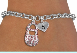 <br>ADJUSTABLE & PERSONALIZED INITIAL NECKLACE <bR>                    EXCLUSIVELY OURS!!  <Br>               AN ALLAN ROBIN DESIGN!!  <BR>                  LEAD & NICKEL FREE!!  <BR>W21804SB - DETAILED SILVER TONE & PINK  <BR>  CRYSTAL BABY SHOE PENDANT WITH HEART   <BR>      SHAPED ALPHABET INITIAL CHARM ON   <Br>     LOBSTER CLASP CHAIN LINK BRACELET <BR>            FROM $7.31 TO $16.25 �2015