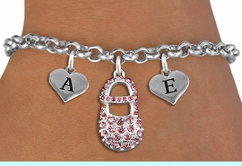 <br>ADJUSTABLE & PERSONALIZED INITIAL NECKLACE <bR>                    EXCLUSIVELY OURS!!  <Br>               AN ALLAN ROBIN DESIGN!!  <BR>                  LEAD & NICKEL FREE!!  <BR>W21805SB - DETAILED SILVER TONE & PINK <BR>  CRYSTAL BABY SHOE PENDANT WITH 2 HEART   <BR>      SHAPED ALPHABET INITIAL CHARMS ON   <Br>     LOBSTER CLASP CHAIN LINK BRACELET <BR>            FROM $8.44 TO $18.75 �2015