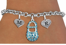<br>ADJUSTABLE & PERSONALIZED INITIAL NECKLACE <bR>                    EXCLUSIVELY OURS!!  <Br>               AN ALLAN ROBIN DESIGN!!  <BR>                  LEAD & NICKEL FREE!!  <BR>W21806SB - DETAILED SILVER TONE & BLUE <BR>  CRYSTAL BABY SHOE PENDANT WITH 2 HEART   <BR>      SHAPED ALPHABET INITIAL CHARMS ON   <Br>     LOBSTER CLASP CHAIN LINK BRACELET <BR>            FROM $8.44 TO $18.75 �2015