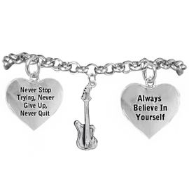 <BR>ADJUSTABLE MUSIC & SCHOOL BAND JEWELRY  <BR>            COMPLETELY HYPOALLERGENIC  <BR>        NICKEL, LEAD & CADMIUM FREE!!  <BR>   W21807B2 - 3D DETAILED SILVER TONE  <BR>       ELECTRIC GUITAR CHARM ON CHAIN  <BR>     LINK BRACELET WITH LOBSTER CLASP  <BR>                          $9.38 EACH �2015