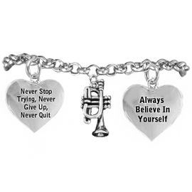 <BR>ADJUSTABLE MUSIC & SCHOOL BAND JEWELRY  <BR>            COMPLETELY HYPOALLERGENIC  <BR>        NICKEL, LEAD & CADMIUM FREE!!  <BR>   W21810B2 - 3D DETAILED SILVER TONE  <BR>               TRUMPET CHARM ON CHAIN  <BR>     LINK BRACELET WITH LOBSTER CLASP  <BR>                      $9.38 EACH �2015