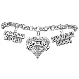 "<BR>         WHOLESALE SPORTS FASHION JEWELRY   <BR>                COMPLETELY HYPOALLERGENIC   <BR>       W21817B2 - CRYSTAL AND SILVER TONE   <BR>            ""BASKETBALL"" HEART CHARM WITH  <BR>  BASKETBALL ROCKS! AND BASKETBALL CHICK! <BR>  ON SILVER TONE CHAIN LINK LOBSTER CLASP  <BR>     BRACELET FROM $10.75 TO $16.25 �2015"