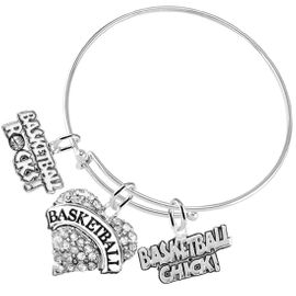 "<BR>         WHOLESALE SPORTS FASHION JEWELRY   <BR>                COMPLETELY HYPOALLERGENIC   <BR>       W21817B9 - CRYSTAL AND SILVER TONE   <BR>            ""BASKETBALL"" HEART CHARM WITH  <BR>  BASKETBALL ROCKS! AND BASKETBALL CHICK! <BR>      ON ADJUSTABLE SILVER TONE THIN WIRE <BR>     BRACELET FROM $10.75 TO $16.25 �2015"
