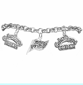 """<BR>         WHOLESALE SPORTS FASHION JEWELRY    <BR>                COMPLETELY HYPOALLERGENIC    <BR>          W21818B2 - DETAILED SILVER TONE    <BR>     """"COLOR GUARD"""" FLAG SHAPED CHARM WITH   <BR>COLOR GUARD ROCKS! AND COLOR GUARD CHICK!  <BR>  ON SILVER TONE CHAIN LINK LOBSTER CLASP   <BR>      BRACELET FROM $9.73 TO $14.58 �2015"""