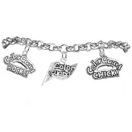 "<BR>         WHOLESALE SPORTS FASHION JEWELRY    <BR>                COMPLETELY HYPOALLERGENIC    <BR>          W21818B2 - DETAILED SILVER TONE    <BR>     ""COLOR GUARD"" FLAG SHAPED CHARM WITH   <BR>COLOR GUARD ROCKS! AND COLOR GUARD CHICK!  <BR>  ON SILVER TONE CHAIN LINK LOBSTER CLASP   <BR>      BRACELET FROM $9.73 TO $14.58 �2015"