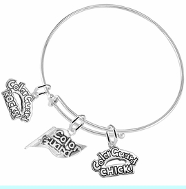 """<BR>         WHOLESALE SPORTS FASHION JEWELRY    <BR>                COMPLETELY HYPOALLERGENIC    <BR>          W21818B9 - DETAILED SILVER TONE    <BR>     """"COLOR GUARD"""" FLAG SHAPED CHARM WITH   <BR>COLOR GUARD ROCKS! AND COLOR GUARD CHICK!  <BR>      ON ADJUSTABLE SILVER TONE THIN WIRE  <BR>      BRACELET FROM $9.73 TO $14.58 �2015"""