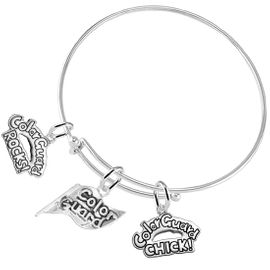 "<BR>         WHOLESALE SPORTS FASHION JEWELRY    <BR>                COMPLETELY HYPOALLERGENIC    <BR>          W21818B9 - DETAILED SILVER TONE    <BR>     ""COLOR GUARD"" FLAG SHAPED CHARM WITH   <BR>COLOR GUARD ROCKS! AND COLOR GUARD CHICK!  <BR>      ON ADJUSTABLE SILVER TONE THIN WIRE  <BR>      BRACELET FROM $9.73 TO $14.58 �2015"