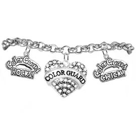 "<BR>         WHOLESALE SPORTS FASHION JEWELRY    <BR>                COMPLETELY HYPOALLERGENIC    <BR>       W21819B2 - CRYSTAL AND SILVER TONE    <BR>            ""COLOR GUARD"" HEART CHARM WITH   <BR>  COLOR GUARD ROCKS! AND COLOR GUARD CHICK!  <BR>  ON SILVER TONE CHAIN LINK LOBSTER CLASP   <BR>     BRACELET FROM $10.75 TO $16.25 �2015"