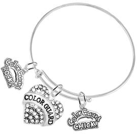 """<BR>         WHOLESALE SPORTS FASHION JEWELRY    <BR>                COMPLETELY HYPOALLERGENIC    <BR>       W21819B9 - CRYSTAL AND SILVER TONE    <BR>           """"COLOR GUARD"""" HEART CHARM WITH   <BR> OLOR GUARD ROCKS! AND COLOR GUARD CHICK!  <BR>      ON ADJUSTABLE SILVER TONE THIN WIRE  <BR>     BRACELET FROM $10.75 TO $16.25 �2015"""