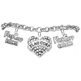 """<BR>         WHOLESALE SPORTS FASHION JEWELRY    <BR>                COMPLETELY HYPOALLERGENIC    <BR>       W21820B2 - CRYSTAL AND SILVER TONE    <BR>             """"FLAG CORP"""" HEART CHARM WITH   <BR>    FLAG CORP ROCKS! AND FLAG CORP CHICK!  <BR>  ON SILVER TONE CHAIN LINK LOBSTER CLASP   <BR>     BRACELET FROM $10.75 TO $16.25 �2015"""
