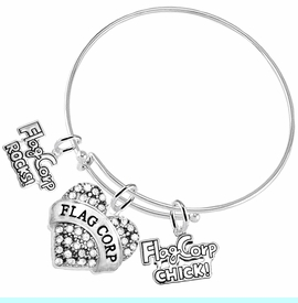 """<BR>         WHOLESALE SPORTS FASHION JEWELRY    <BR>                COMPLETELY HYPOALLERGENIC    <BR>       W21820B9 - CRYSTAL AND SILVER TONE    <BR>            """"FLAG CORP"""" HEART CHARM WITH   <BR>  FLAG CORP ROCKS! AND FLAG CORP CHICK!  <BR>      ON ADJUSTABLE SILVER TONE THIN WIRE  <BR>     BRACELET FROM $10.75 TO $16.25 �2015"""