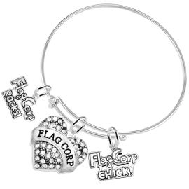 "<BR>         WHOLESALE SPORTS FASHION JEWELRY    <BR>                COMPLETELY HYPOALLERGENIC    <BR>       W21820B9 - CRYSTAL AND SILVER TONE    <BR>            ""FLAG CORP"" HEART CHARM WITH   <BR>  FLAG CORP ROCKS! AND FLAG CORP CHICK!  <BR>      ON ADJUSTABLE SILVER TONE THIN WIRE  <BR>     BRACELET FROM $10.75 TO $16.25 �2015"