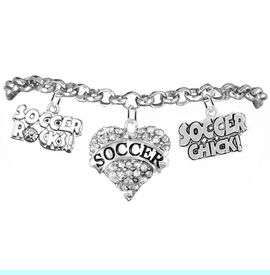 """<BR>         WHOLESALE SPORTS FASHION JEWELRY    <BR>                COMPLETELY HYPOALLERGENIC    <BR>       W21821B2 - CRYSTAL AND SILVER TONE    <BR>            """"SOCCER"""" HEART CHARM WITH   <BR>  SOCCER ROCKS! AND SOCCER CHICK!  <BR>  ON SILVER TONE CHAIN LINK LOBSTER CLASP   <BR>     BRACELET FROM $10.75 TO $16.25 �2015"""