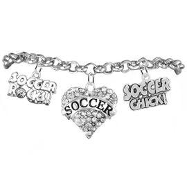 "<BR>         WHOLESALE SPORTS FASHION JEWELRY    <BR>                COMPLETELY HYPOALLERGENIC    <BR>       W21821B2 - CRYSTAL AND SILVER TONE    <BR>            ""SOCCER"" HEART CHARM WITH   <BR>  SOCCER ROCKS! AND SOCCER CHICK!  <BR>  ON SILVER TONE CHAIN LINK LOBSTER CLASP   <BR>     BRACELET FROM $10.75 TO $16.25 �2015"