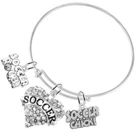 """<BR>         WHOLESALE SPORTS FASHION JEWELRY    <BR>                COMPLETELY HYPOALLERGENIC    <BR>       W21821B9 - CRYSTAL AND SILVER TONE    <BR>                """"SOCCER"""" HEART CHARM WITH   <BR>          SOCCER ROCKS! AND SOCCER CHICK!  <BR>      ON ADJUSTABLE SILVER TONE THIN WIRE  <BR>     BRACELET FROM $10.75 TO $16.25 �2015"""