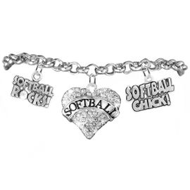 "<BR>       WHOLESALE SPORTS FASHION JEWELRY    <BR>              COMPLETELY HYPOALLERGENIC    <BR>     W21822B2 - CRYSTAL AND SILVER TONE    <BR>            ""SOFTBALL"" HEART CHARM WITH   <BR>    SOFTBALL ROCKS! AND SOFTBALL CHICK!  <BR>ON SILVER TONE CHAIN LINK LOBSTER CLASP   <BR>   BRACELET FROM $10.75 TO $16.25 �2015"