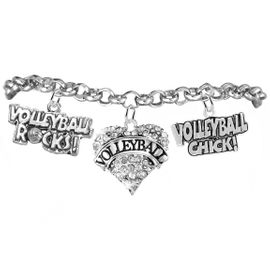 "<BR>         WHOLESALE SPORTS FASHION JEWELRY    <BR>                COMPLETELY HYPOALLERGENIC    <BR>       W21823B2 - CRYSTAL AND SILVER TONE    <BR>            ""VOLLEYBALL"" HEART CHARM WITH   <BR>  VOLLEYBALL ROCKS! AND VOLLEYBALL CHICK!  <BR>  ON SILVER TONE CHAIN LINK LOBSTER CLASP   <BR>     BRACELET FROM $10.75 TO $16.25 �2015"