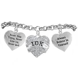 "<BR>WHOLESALE RUNNING WALKING THEMED JEWELRY    <BR>                  COMPLETELY HYPOALLERGENIC     <BR>   W21880B2 - CLEAR CRYSTAL AND SILVER TONE     <BR>   ""10K"" RUN / WALK THEMED HEART CHARM WITH    <BR>""NEVER QUIT"" & ""ALWAYS BELIEVE IN YOURSELF""    <BR>    ON SILVER TONE CHAIN LINK LOBSTER CLASP    <BR>       BRACELET FROM $10.75 TO $16.25 �2015"
