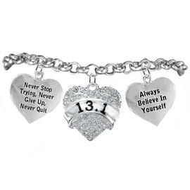 "<BR>   WHOLESALE RUNNING WALKING THEMED JEWELRY     <BR>                  COMPLETELY HYPOALLERGENIC     <BR>   W21881B2 - CLEAR CRYSTAL AND SILVER TONE     <BR>  ""13.1"" RUN / WALK THEMED HEART CHARM WITH    <BR>""NEVER QUIT"" & ""ALWAYS BELIEVE IN YOURSELF""    <BR>    ON SILVER TONE CHAIN LINK LOBSTER CLASP    <BR>       BRACELET FROM $10.75 TO $16.25 �2015"